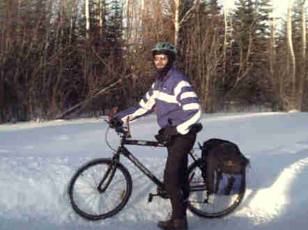 Picture of Joe with his winterbike in Thunder Bay